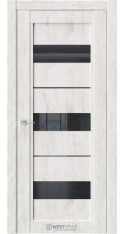 Межкомнатная дверь QP 7 Клен Прованс черное стекло