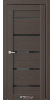 Межкомнатная дверь RE1 Вудекс Макадамия черное стекло