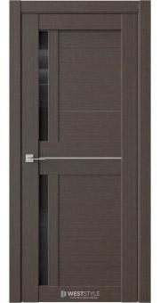 Межкомнатная дверь RE26 Вудекс Макадамия черное стекло