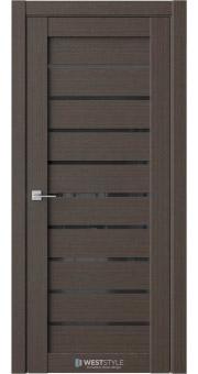 Межкомнатная дверь RE35 Вудекс Макадамия черное стекло