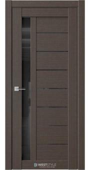 Межкомнатная дверь RE37 Вудекс Макадамия черное стекло