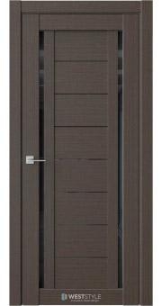 Межкомнатная дверь RE46 Вудекс Макадамия черное стекло