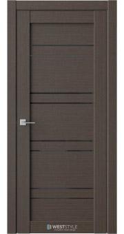 Межкомнатная дверь RE51 Вудекс Макадамия черное стекло