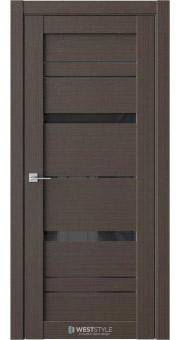 Межкомнатная дверь RE52 Вудекс Макадамия черное стекло