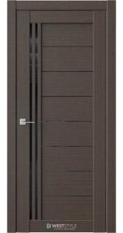 Межкомнатная дверь RE58 Вудекс Макадамия черное стекло