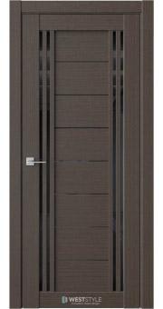 Межкомнатная дверь RE59 Вудекс Макадамия черное стекло