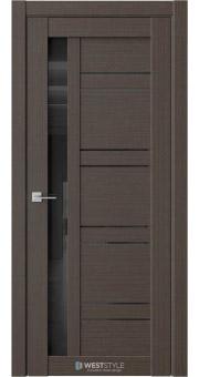 Межкомнатная дверь RE72 Вудекс Макадамия черное стекло