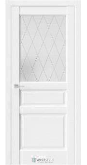 Межкомнатная дверь SE 8 Белая стекло 2