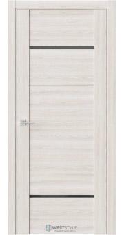 Межкомнатная дверь V 25 Клён Крем черное стекло