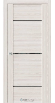 Межкомнатная дверь V 26 Клён Крем черное стекло