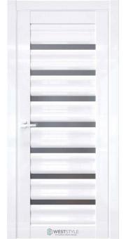 Межкомнатная дверь WV 1 Белый глянец стекло
