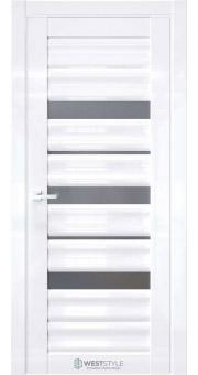 Межкомнатная дверь WV 3 Белый глянец стекло