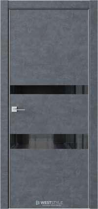 Межкомнатная дверь IN 16 Бетон Маренго черное стекло