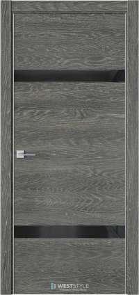 Межкомнатная дверь IN 3 Платинум черное стекло