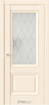 Межкомнатная дверь PL 4F Бежевая стекло 2