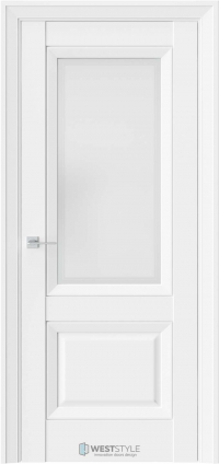 Межкомнатная дверь PL 4F Белая стекло 1