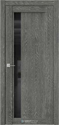 Межкомнатная дверь XC 6 Платинум черное стекло